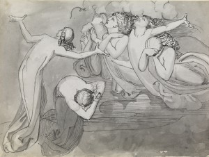 A Group of Five Lamenting Angels in the Clouds (right) Two Female Figures (left)