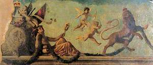 Allegorical Composition: Tragedy and Putti Driving away a Heraldic Lion