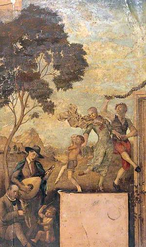 Rural Scene with Putto Conducting Two Men Playing the Lute and Saxophone and Figures Dancing