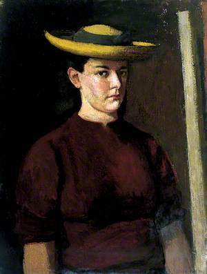 Portrait of a Girl Wearing a Straw Hat