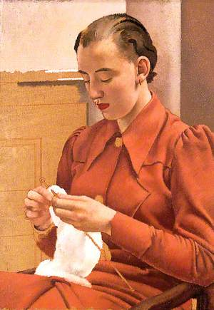 Woman in a Red Dress Knitting