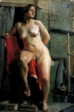 Woman on a Stool with a Red Cloth