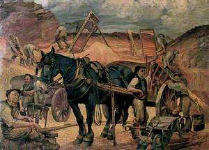 Reconstruction: A Horse and Cart with Figures in a Sandpit