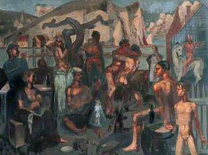 Sailors and Other Figures Carousing by a Quay