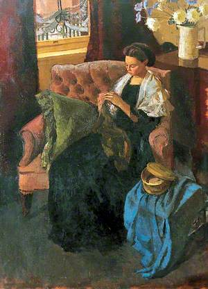 Domestic Employment: A Girl Seated in a Chair Sewing (Dodie Glass)