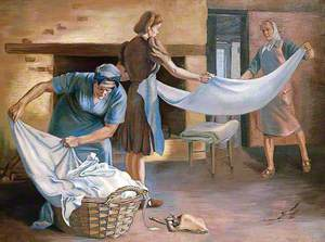 Manual Labour: An Interior with Three Figures Folding Laundry