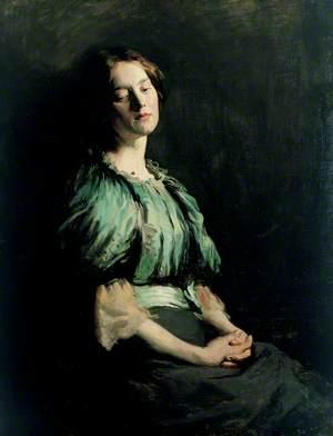 Portrait of a Girl Wearing a Green Dress