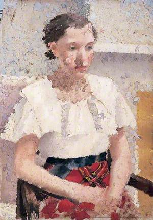 Study of Seated Woman in a Tartan Skirt