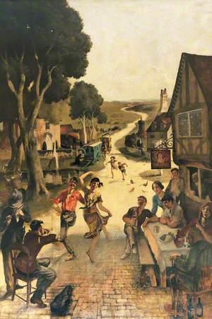 Rustic Scene: Villagers Dancing