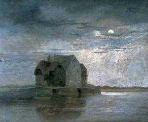 Moonlight Scene with a Mill at the Edge of a River