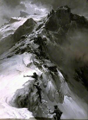 Climbers Surmounting a Cornice on the North-East Ridge of Meije Pic Oriental