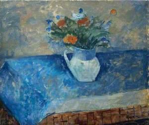 Flowers on a Blue Cloth