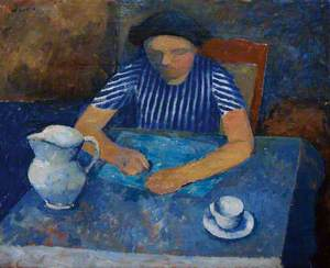 Girl at a Blue Table