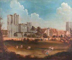 View of Ashby-de-la-Zouch Castle, Leicestershire, with Passers-By