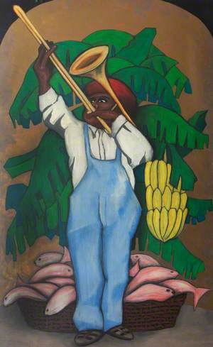 Trombone Player with Bananas and Fish
