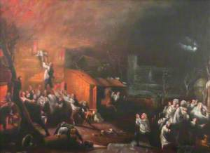 The Epworth Rectory on Fire and the Rescue of John Wesley, Aged 6