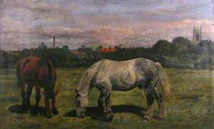 Two Horses Grazing, with a Parish Church Tower in the Distance