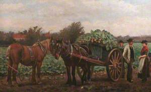 Horses and Figures in a Turnip Field