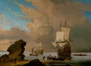 Seascape, Ships and Boats in a Calm off a Rocky Shore