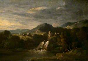 Mountainous Landscape with a Waterfall and Figures