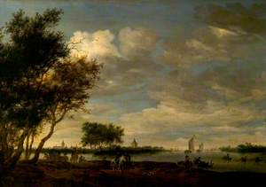 River Scene with a Distant View of Vianen, The Netherlands