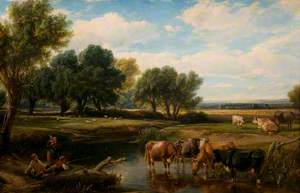 Cattle Watering at a Stream