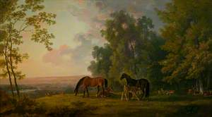 Landscape with Mares, Foals and Deer