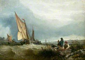 River Scene with Shipping