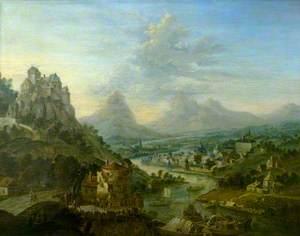Mountainous Landscape with a River and a Castle