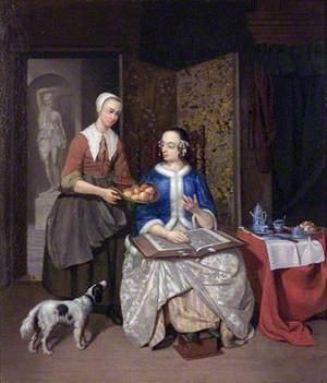 Interior Scene with Two Ladies
