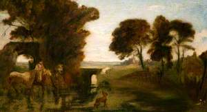 Horses and Figures at a Ford