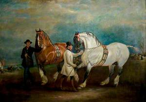Carthorses with Grooms at a Fair