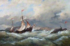 A Dutch Galliot Entering Aberdeen Harbour in a Storm