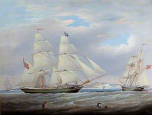 Two-Masted Ship off the Coast in Three Positions