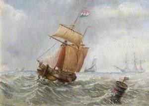 Two-Masted Ship at Sea