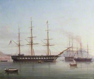 British Man-of-War 'Hong Kong' in the Bay of Naples, Italy
