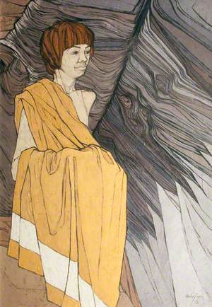 Rockface with a Boy in a Yellow Towel