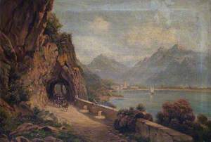 Alpine Lakeside View, with a Three-Horse Coach