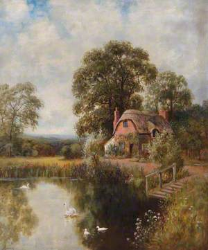 Landscape with a Thatched Cottage and a Lake