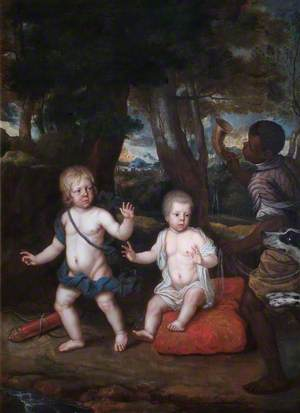 Lucius and Montague Hare, Younger Sons of Henry Hare, 2nd Lord Coleraine of Bruce Castle, with an African Servant