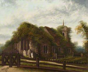 Ivy-Clad Church and Graveyard Scene