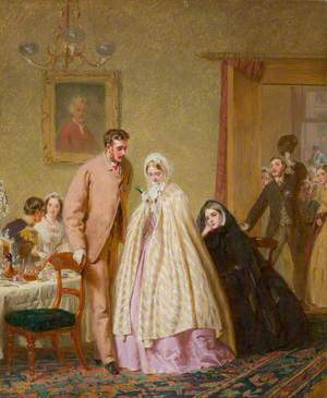 View of a Domestic Interior with a Bridal Group
