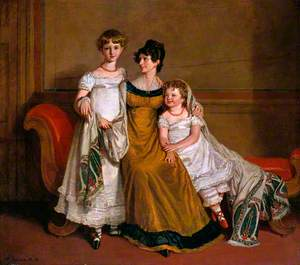 Portrait of a Woman with Two Children in a Domestic Interior