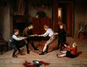 A Group of Children Playing at 'Tug of War' in a Domestic Interior