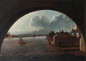 A View of the Thames at Westminster, Seen through an Arch of the Bridge