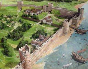 Reconstructed View Showing Origins of the Tower at the South East Corner of Roman London, 400 AD