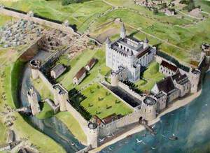 Reconstructed View of the Tower of London, Digging the New Moat, 1241
