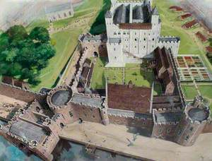 Reconstructed View of the Tower of London with the Great Hall, 1300