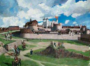 Reconstructed View of the Tower of London from the West, c.1700