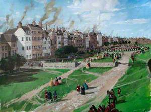 Reconstructed View of the Tower of London, the City towards Tower Hill, 1750